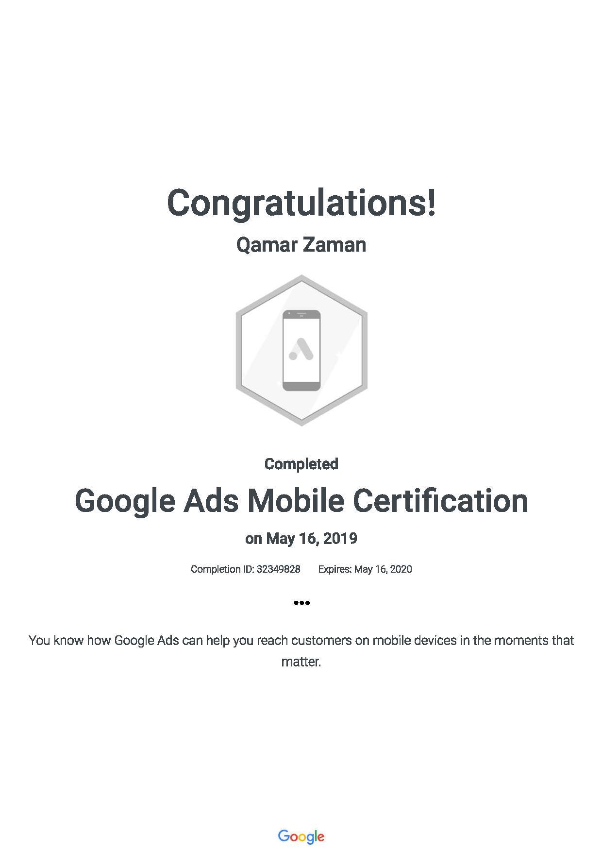 Google Ads Mobile Certification 201905