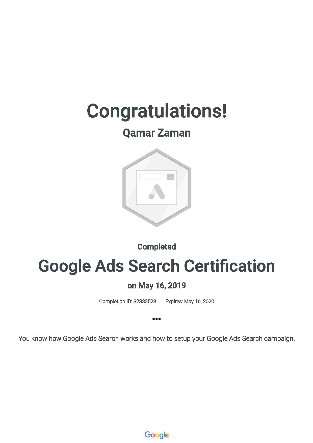 Google Ads Search Certification 201905