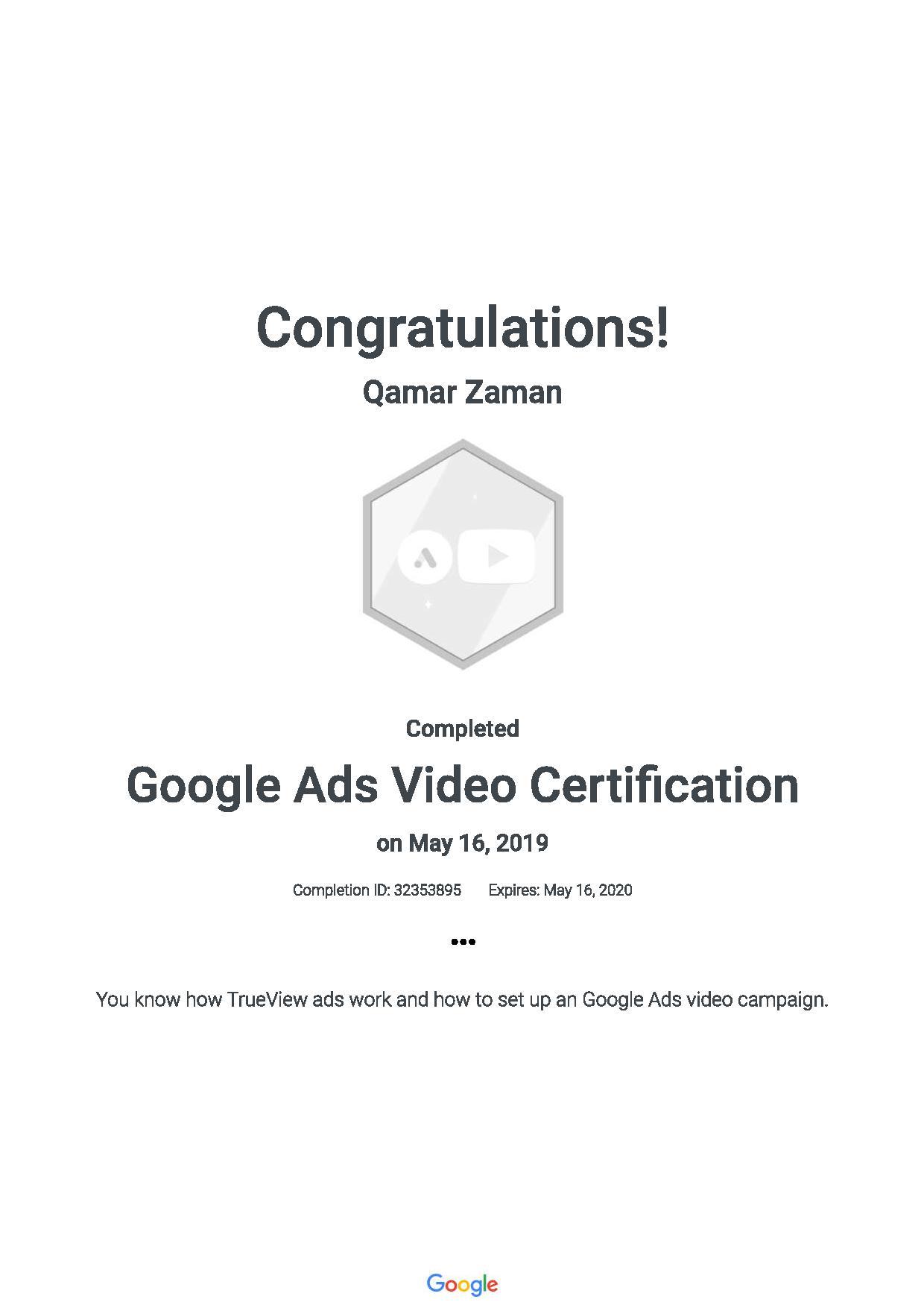 Google Ads Video Certification 201905