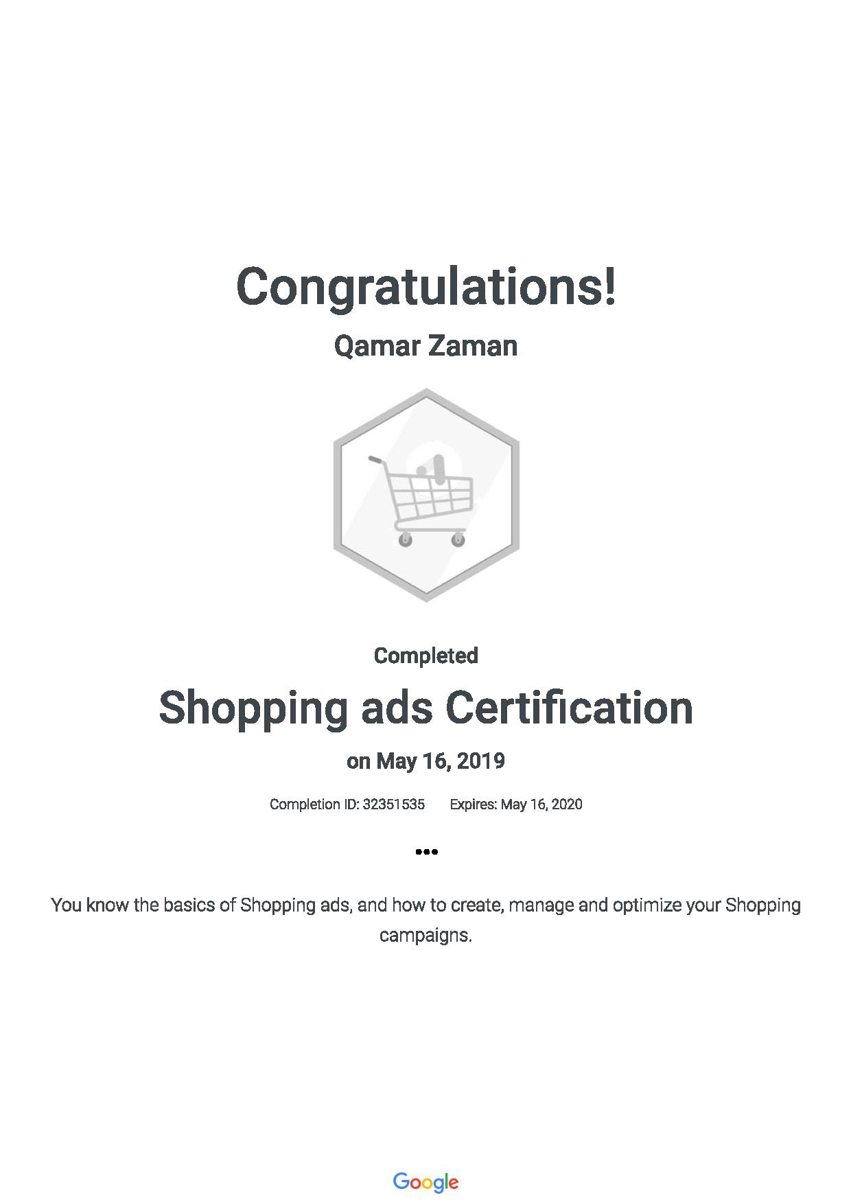 Shopping ads Certification 201905